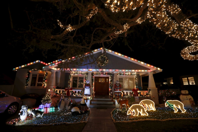 Image: Christmas lights are seen on a home in the Sleepy Hollow neighborhood of Torrance