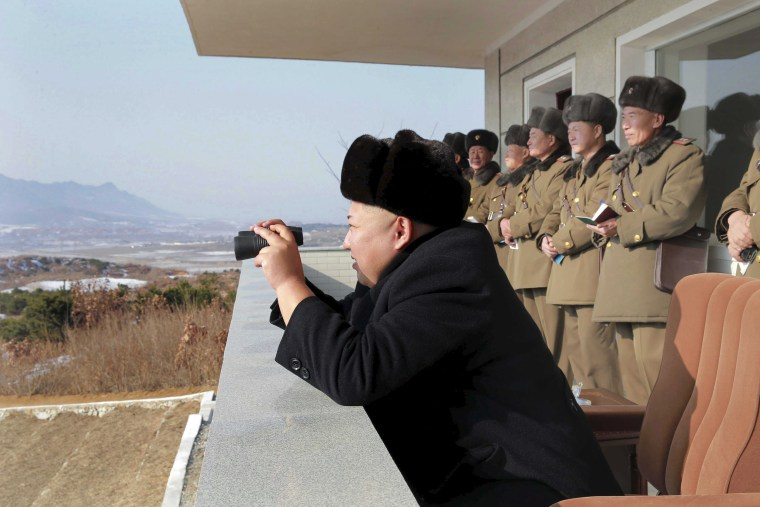 Image: North Korean leader Kim Jong Un watches maneuvers between KPA large combined units 526 and 671.