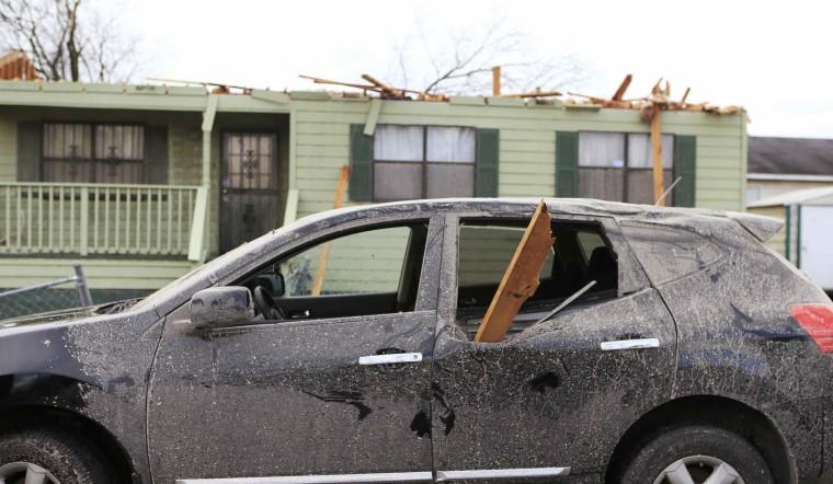Image: Damage caused by a tornado is seen in a neighborhood in Birmingham