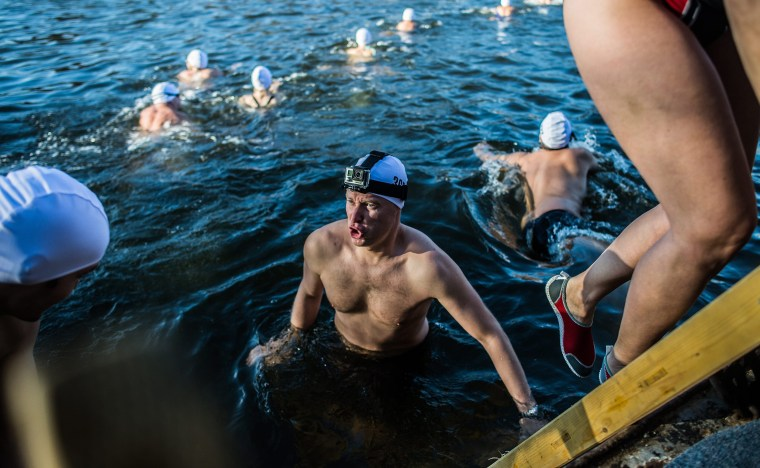 Image: Traditional Christmas Swim in the Vltava river