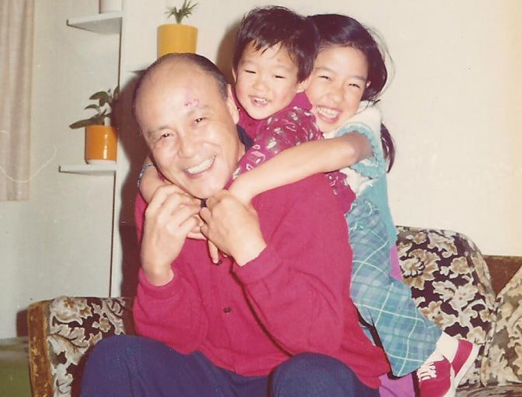 Frances Kai-Hwa Wang with her baby brother and maternal grandfather in California.