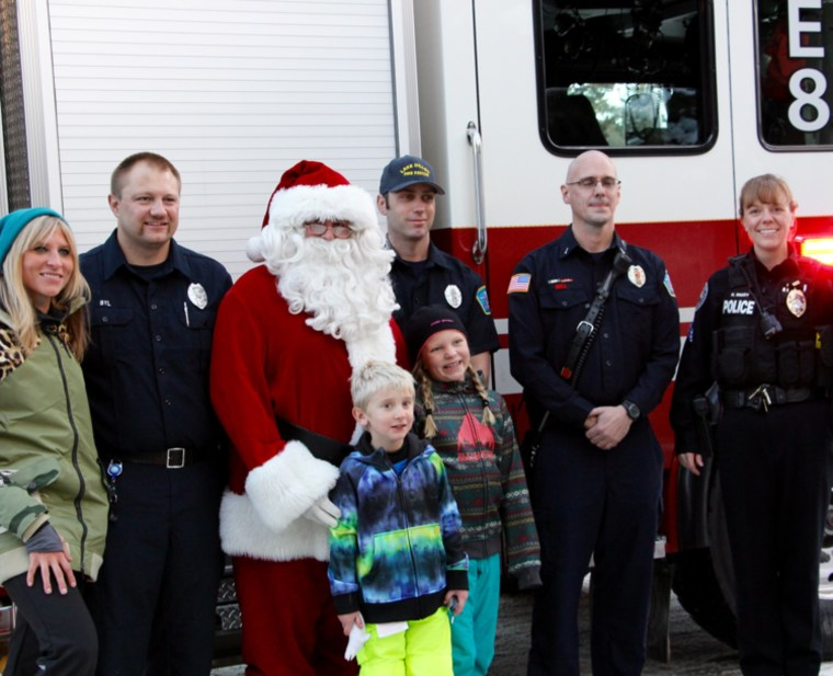 Sophia Feller and her brother, Quinn, at the Silverthorne Police Station