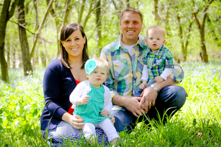 Mark and Andrea Rivas with their first set of twins, Conor and Avery, in April 2013.