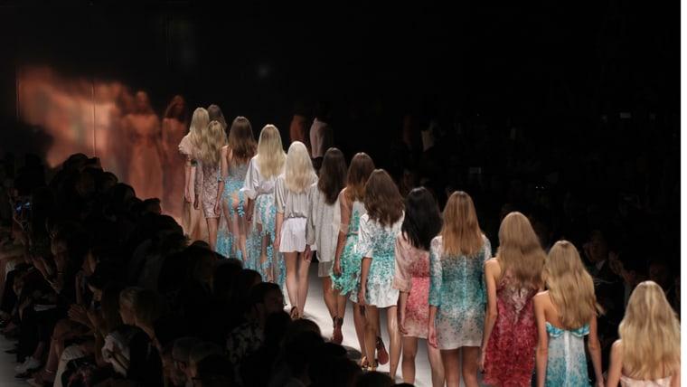 Models walk the runway during Milan Fashion Week on September 19, 2014 in Milan, Italy.