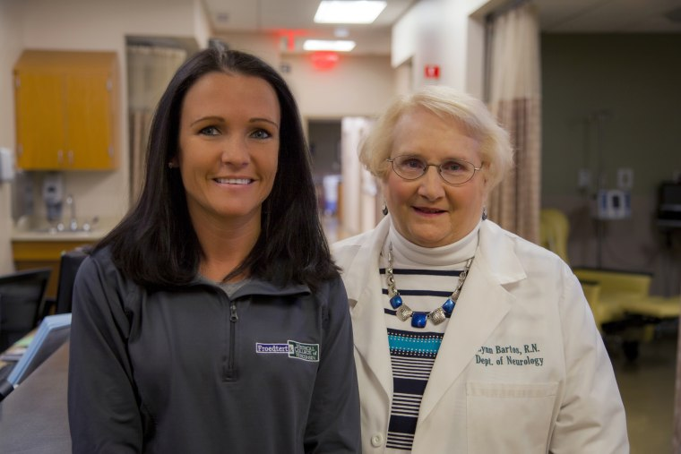 Lynn Bartos, right, has been a nurse for 44 years and still works two days a week in the neurology clinic at Froedtert and the Medical College of Wisconsin. Nichole Krahn has been a nurse in the Infusion Clinic at Froedtert Hospital for 2 years.