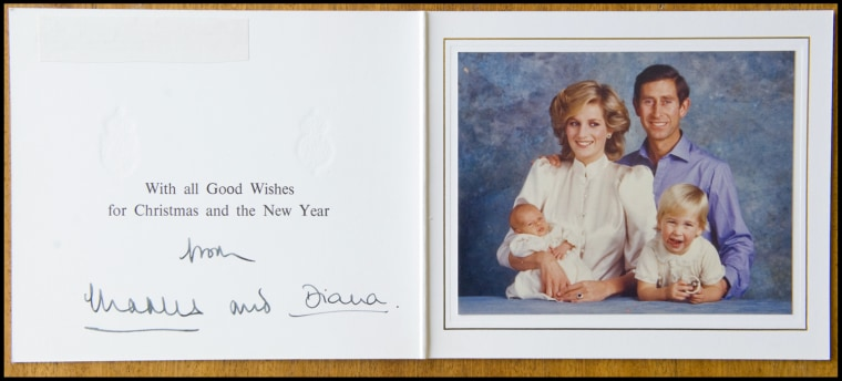 BNPS.co.uk (01202 558833) Pic: Phil Yeomans/BNPS  Happy couple with William and new baby Harry - Xmas 1984.  A poignant collection of Royal Xmas cards sent to a member of staff and signed by Charles and Diana is coming up for auction.   The cards show the Xmas portraits from the earliest days of the marriage in 1982 and catologue the birth of William and Harry in the following years.   The happy smiling cards give no hint to the bitterness and tragedy that would engulf the couple in later years.
