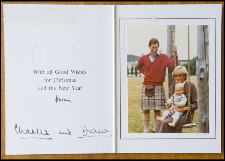 BNPS.co.uk (01202 558833) Pic: Phil Yeomans/BNPS  Happy couple with William - Xmas 1983.  A poignant collection of Royal Xmas cards sent to a member of staff and signed by Charles and Diana is coming up for auction.   The cards show the Xmas portraits from the earliest days of the marriage in 1982 and catologue the birth of William and Harry in the following years.   The happy smiling cards give no hint to the bitterness and tragedy that would engulf the couple in later years.