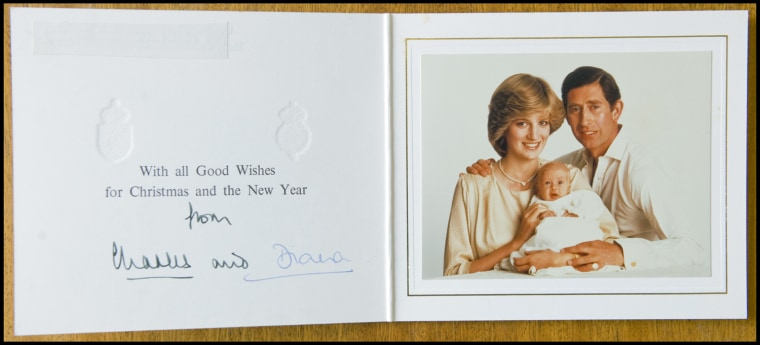 BNPS.co.uk (01202 558833) Pic: Phil Yeomans/BNPS  Happy couple with William - Xmas 1982.  A poignant collection of Royal Xmas cards sent to a member of staff and signed by Charles and Diana is coming up for auction.   The cards show the Xmas portraits from the earliest days of the marriage in 1982 and catologue the birth of William and Harry in the following years.   The happy smiling cards give no hint to the bitterness and tragedy that would engulf the couple in later years.