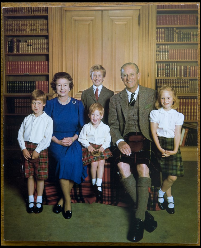 BNPS.co.uk (01202 558833) Pic: Phil Yeomans/BNPS  Xmas card sent by the Queen and Prince Philip in 1987. The rather formal picture shows their grandchildren with the Queen and Prince Philip.  A Royal Xmas cards sent to a member of staff and hand signed by the Queen and Prince Philip is being auctioned by Dukes of Dorchester.