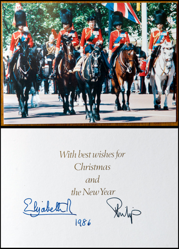 BNPS.co.uk (01202 558833) Pic: Phil Yeomans/BNPS  Xmas card sent by the Queen and Prince Philip in 1986.  A Royal Xmas cards sent to a member of staff and hand signed by the Queen and Prince Philip is being auctioned by Dukes of Dorchester.