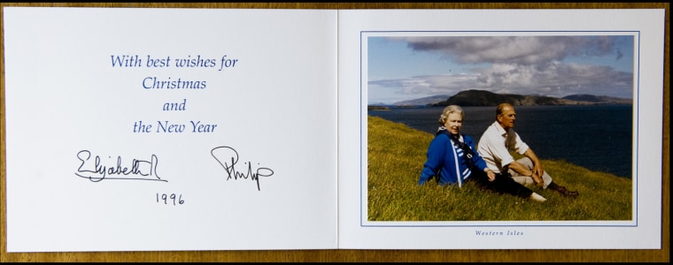 BNPS.co.uk (01202 558833) Pic: Phil Yeomans/BNPS  Xmas card sent by the Queen and Prince Philip in 1996.  A Royal Xmas cards sent to a member of staff and hand signed by the Queen and Prince Philip is being auctioned by Dukes of Dorchester.