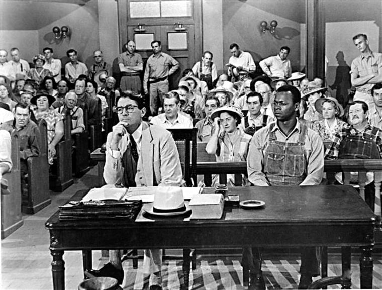 "Gregory Peck plays Atticus Finch and Brock Peters plays the wrongfully accused Tom Robinson in the 1962 film adaptation of ""To Kill a Mockingbird."""