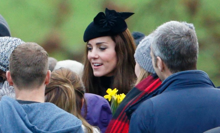 Catherine, Duchess of Cambridge departs after attending the Sunday service at St Mary Magdalene Church, Sandringham.
