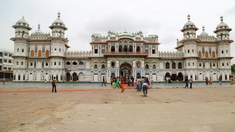 Janaki Mandir sits at the center of Janakpur in Nepal.