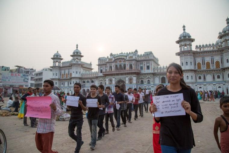"""In an event Ravi Kumar organized in November 2015, passers-by were asked to answer questions such as """"What do you want in Nepal?"""" Their answers were shared on social media under the hashtag #MadhesSpeaks."""