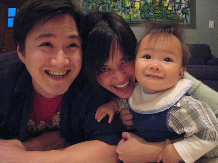 "Sharon H. Chang, author of ""Raising Mixed Race: Multiracial Asian Children in a Post-Racial World,"" with her husband and son."
