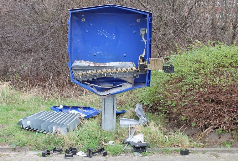 Image: The remains of the condom dispenser after an explosion in Schoeppingen, Germany.