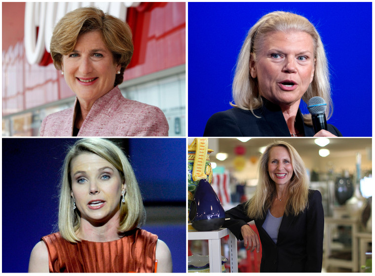 Upper left, Denise Morrison, CEO of Campbell Soup; upper right, Virginia Rometty, CEO of IBM; lower left, Marissa Meyer, CEO of Yahoo; lower right, Carol Meyrowitz, CEO of TJX.