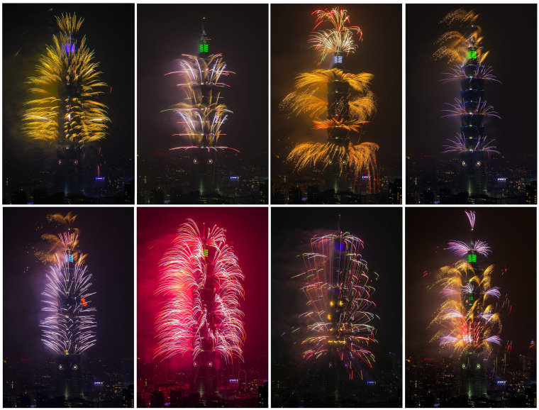 Image: Photos show fireworks go off at the Taipei 101 skyscraper
