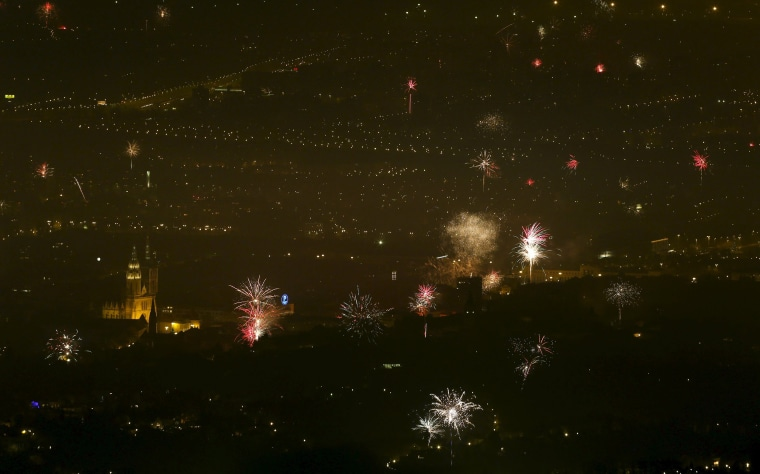 Image: Fireworks are seen during New Year's day celebrations in Zagreb