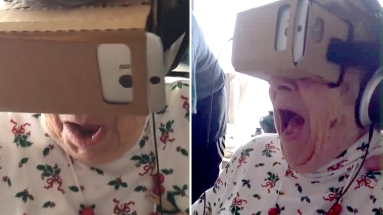 Grandma freaks out watching virtual-reality rollercoaster