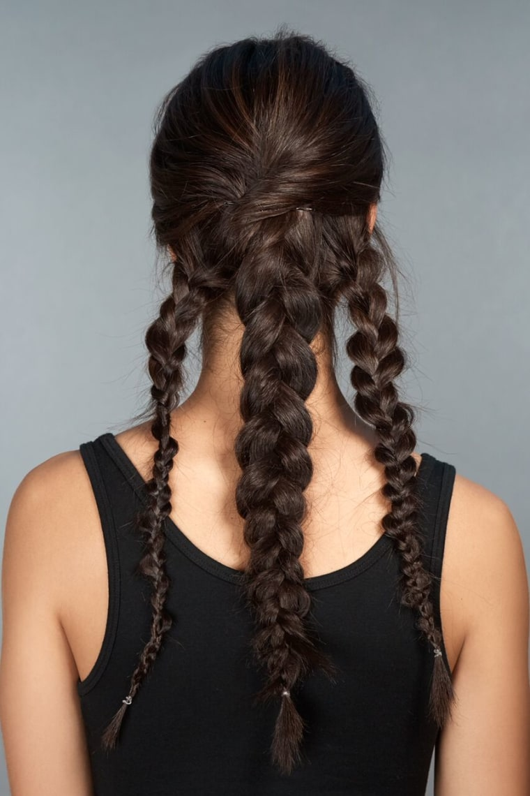 3) Braid each section individually. (Be sure to pull out braids to make them appear wider.)