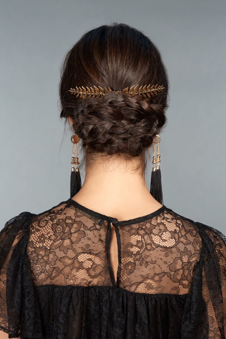 9)	Add a decorative piece that lays right on top of your braided bun.