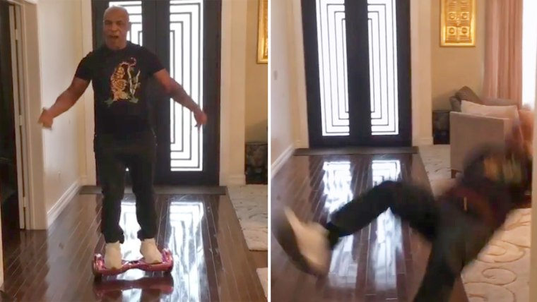 Mike Tyson falling off of a hoverboard