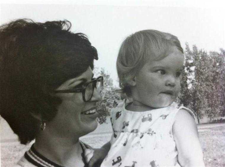 Jen Hatmaker's mom holding baby