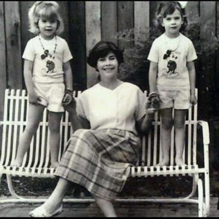 Laura Bush with her two young daughters.