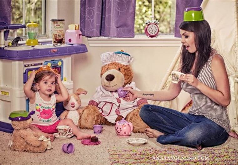 Anna Angenend having a tea party with daughter