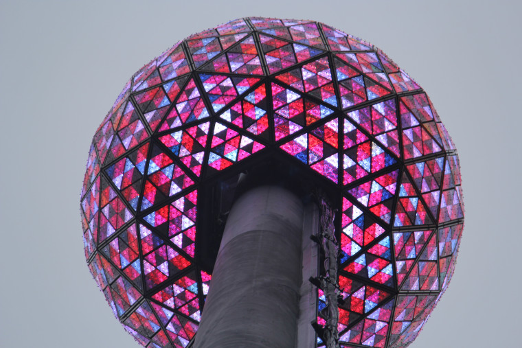 Glowing New Year's Eve Ball tested before New Year's Eve