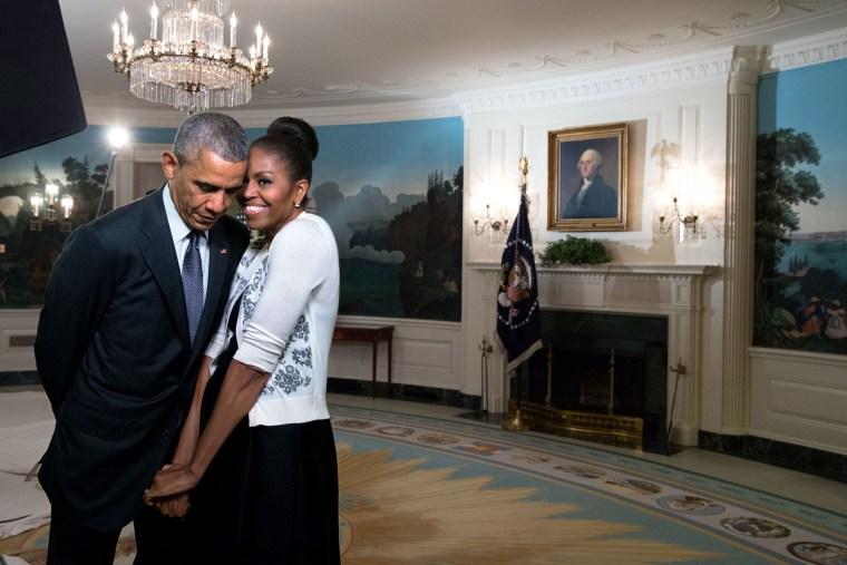 Barack Obama and Michelle Obama pose together