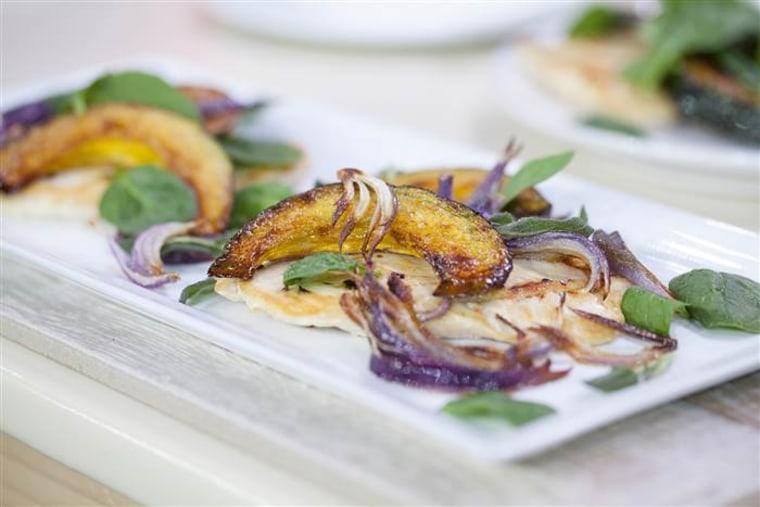Martha Stewart's chicken paillards with squash and spinach