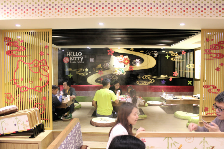 Hello Kitty Shabu-Shabu combines table and floor seating to accommodate a maximum of 50 diners inside its restaurant.