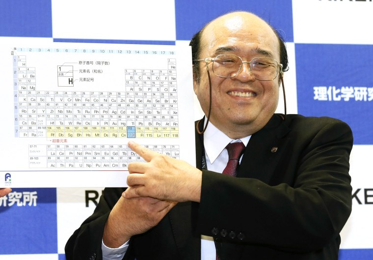 New periodic table elements named after japan moscow tennessee kosuke morita of riken nishina center for accelerator based science points at periodic table of the elements during a press conference in wako urtaz Gallery
