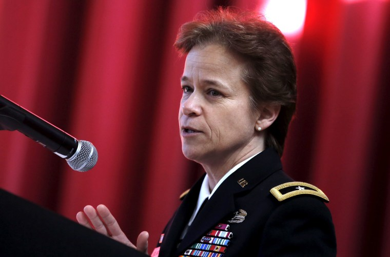 Image: Brigadier General Diana Holland delivers remarks at a ceremony where she was appointed as the first female Commandant of Cadets at the U.S. Military Academy at West Point
