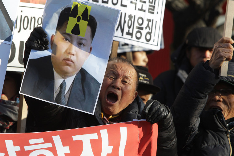 Image: South Korean protesters participate in an anti-North Korea rally
