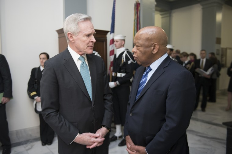 WASHINGTON (Jan. 6, 2016) Secretary of the Navy (SECNAV) Ray Mabus speaks with John Lewis, a civil rights movement hero and current U.S. representative of Georgia's 5th congressional district, before the ship-naming ceremony for the future fleet replenishment oiler USNS John Lewis (T-AO 205). USNS John Lewis will be the first ship of the Navy's newest generation of fleet replenishment oilers. (U.S. Navy photo by Mass Communication Specialist 2nd Class Armando Gonzales/Released)
