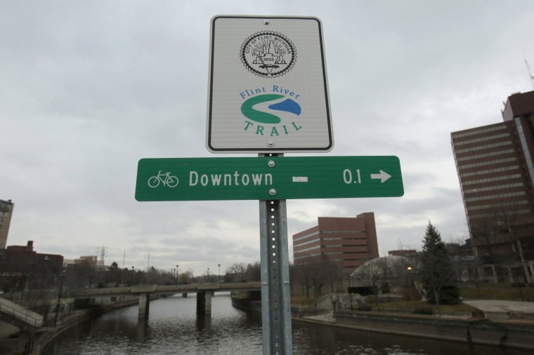 Image: A Flint River sign is seen along the Flint river in Flint, Michigan