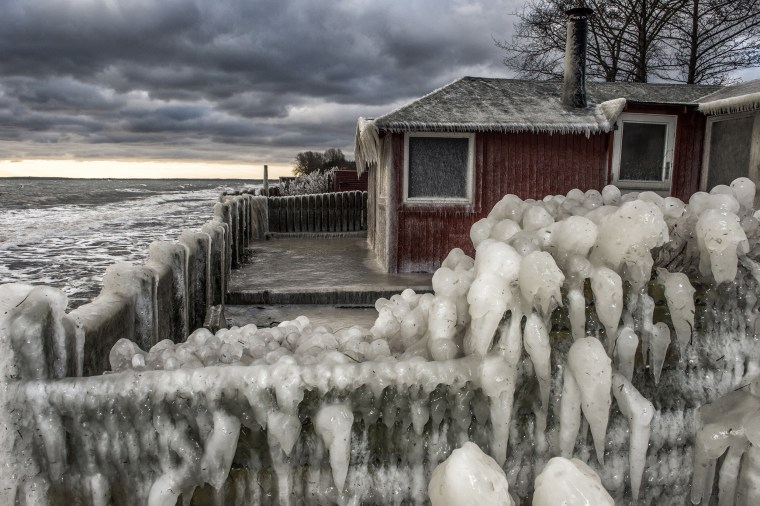 Image: Ice formations are seen at the beach near Fakse Ladeplads