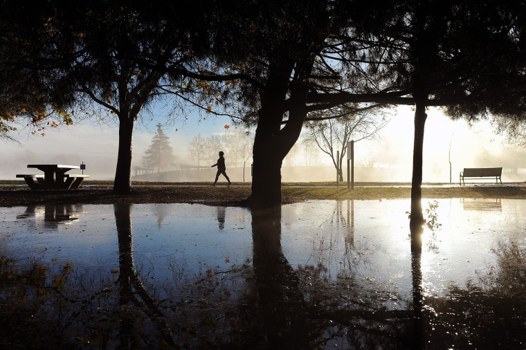 Image: A walker takes advantage of the clearing skies to stroll past rain puddles at Lake Balboa Park