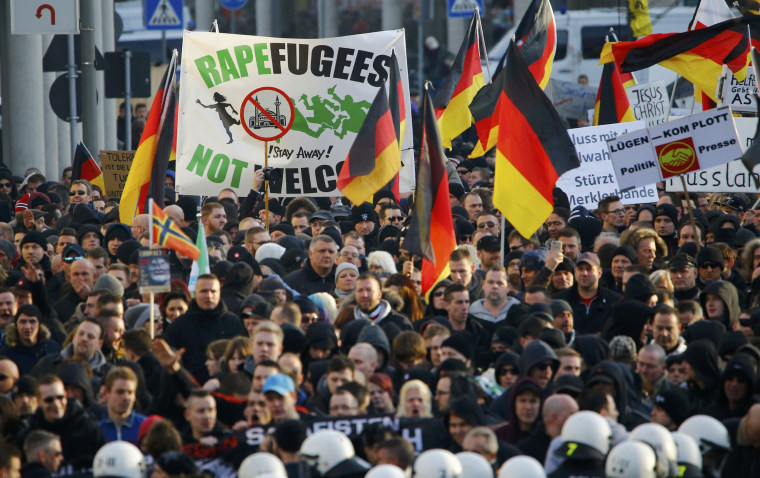 Image: Supporters of anti-immigration right-wing movement PEGIDA protest in Cologne