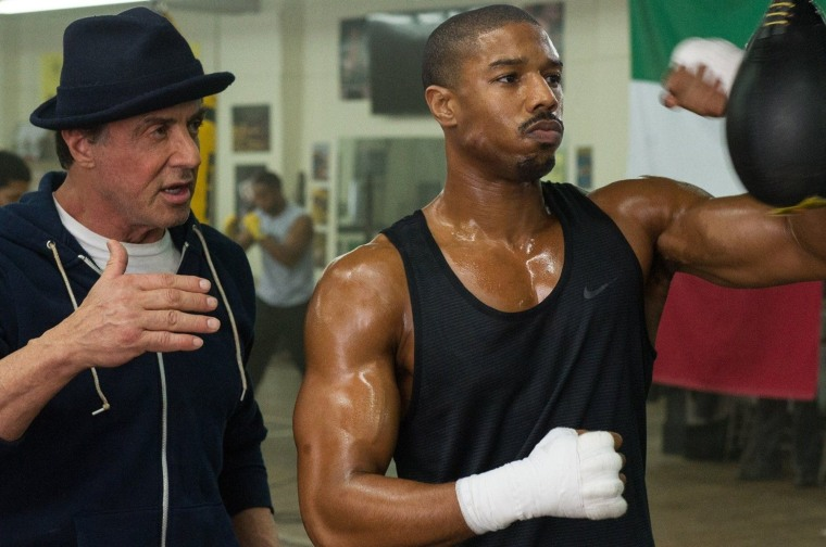 Sylvester Stallone stars as Rocky Balboa and Michael B. Jordan stars as Adonis Creed in Warner Bros. Pictures' Creed.