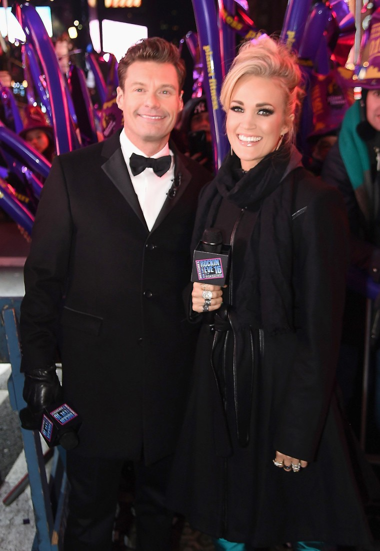 Ryan Seacrest and Carrie Underwood at Dick Clark's New Year's Rockin' Eve 2016