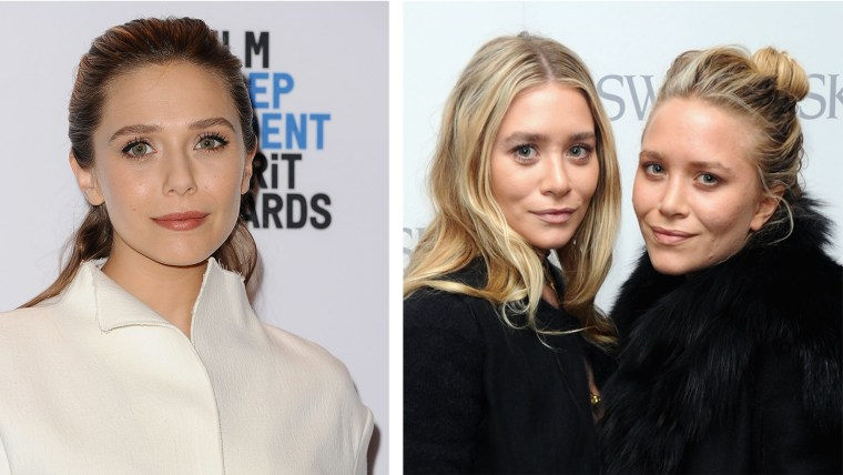 Elizabeth Olsen and her grown-up twin sisters Mary Kate and Ashley, today.