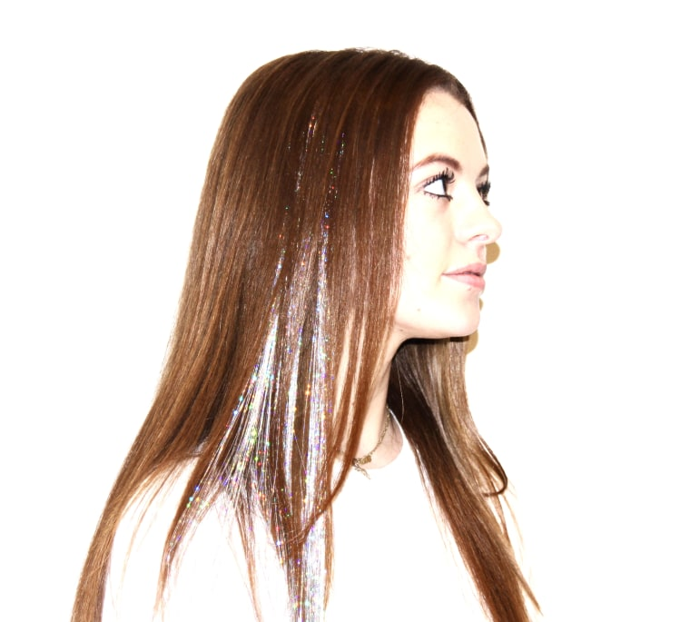 Add glitter clip-in extensions to create icicle hair.