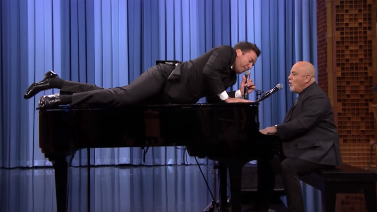 """Jimmy Fallon really gets into the music on """"Beast of Burden"""" with Billy Joel."""