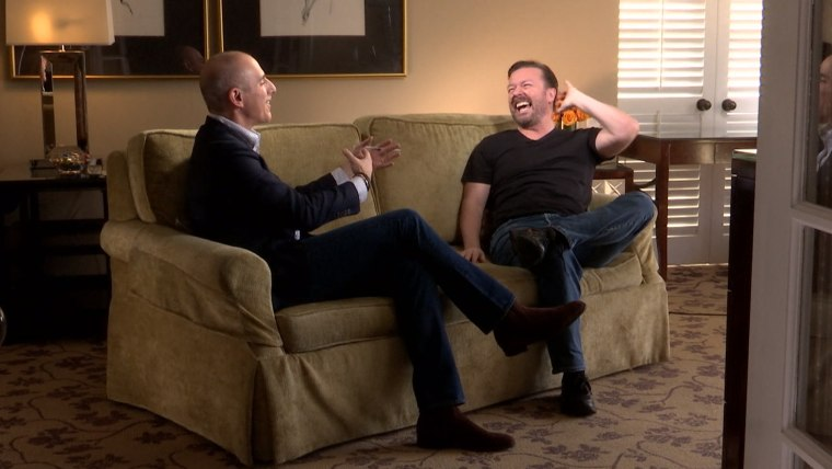 """Ricky Gervais to Matt Lauer: """"I'm not your dancing monkey. You've already got me sitting awkwardly on a couch with you."""""""