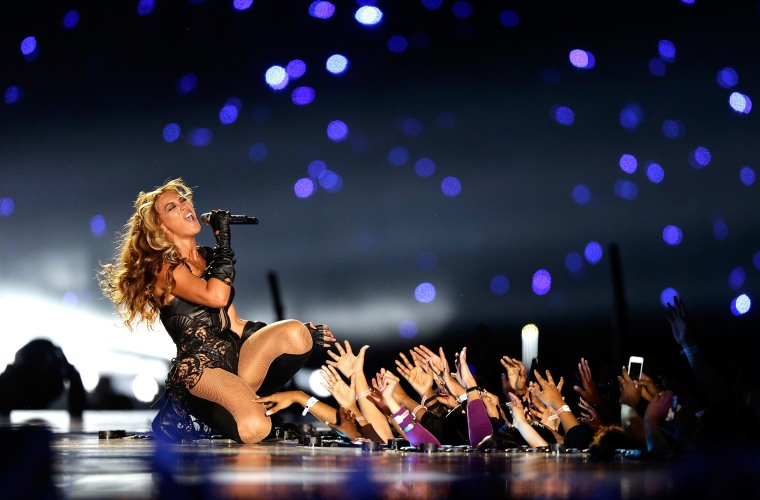 Beyonce performs at the Pepsi Super Bowl XLVII Halftime Show